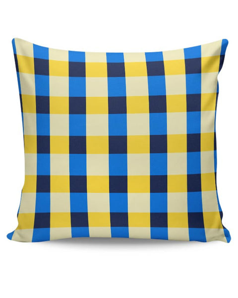 Dark blue square tile pattern Cushion Cover Online India