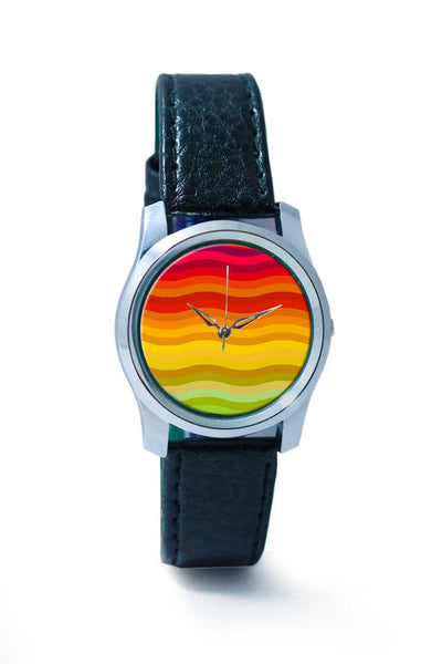 Women Wrist Watch India | Rainbow waves background Wrist Watch Online India