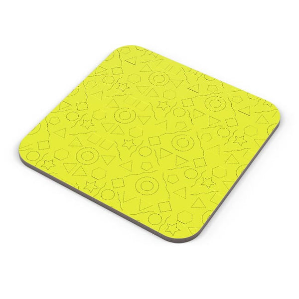 Geometric shapes with yellow backgrond Coaster Online India