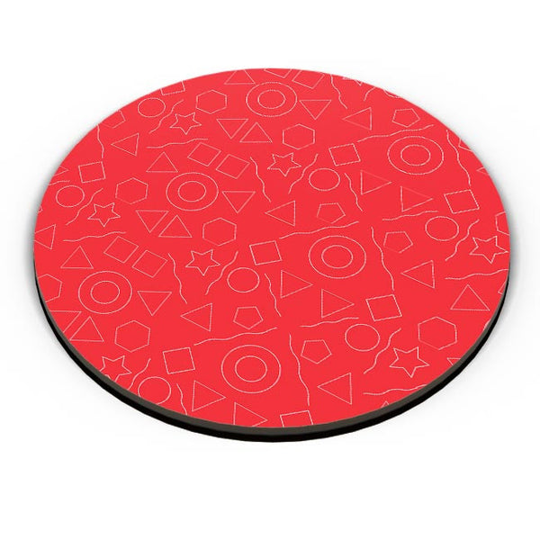 Geometric shapes with red backgrond Fridge Magnet Online India