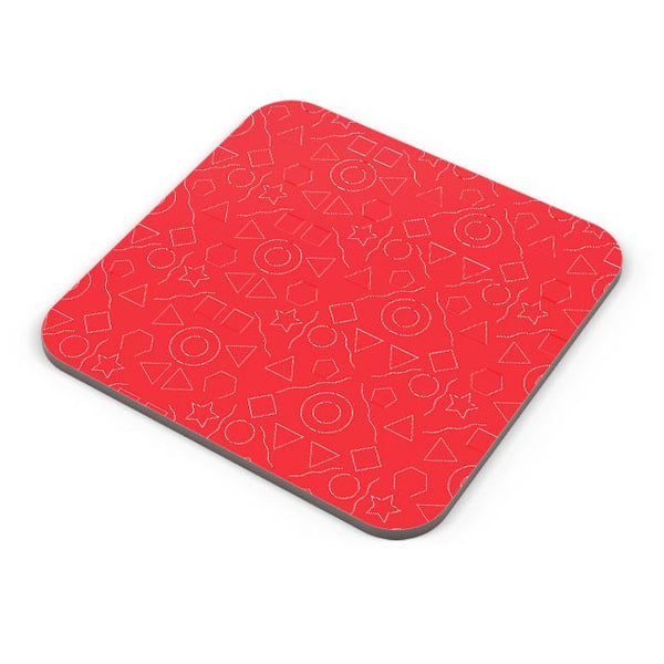 Geometric shapes with red backgrond Coaster Online India