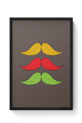 3 Moustache Colorful Framed Poster Online India