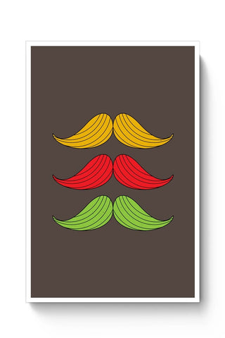 Buy 3 Moustache Colorful Poster