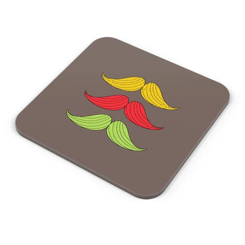 3 Moustache Colorful Coaster Online India