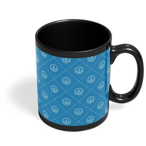 Abstract Anchor on Blue Background Black Coffee Mug Online India
