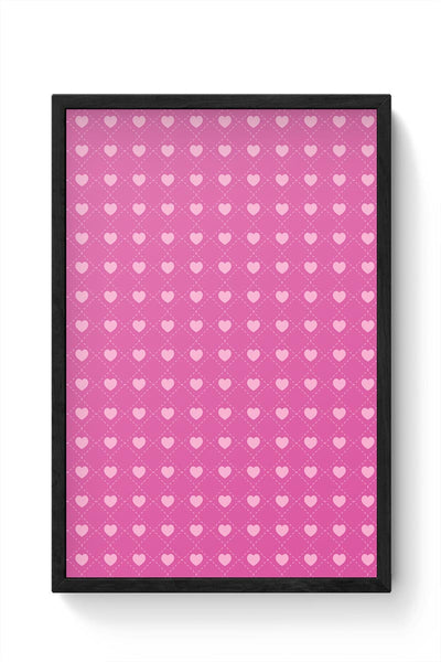 Square stroke hearts on pink  Framed Poster Online India