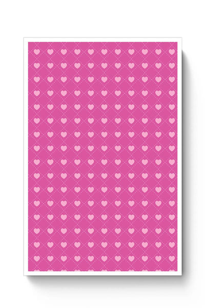 Square stroke hearts on pink  Poster Online India