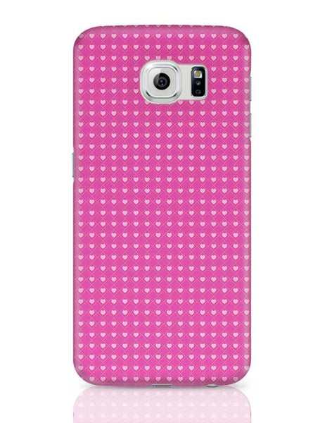 Square stroke hearts on pink  Samsung Galaxy S6 Covers Cases Online India