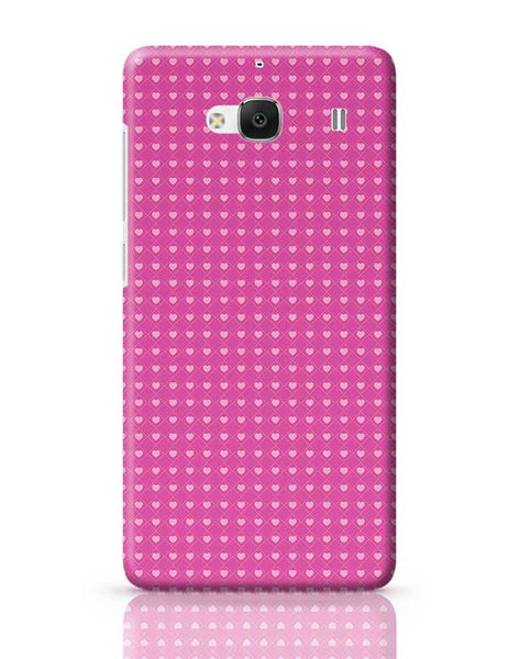 Square stroke hearts on pink  Redmi 2 / Redmi 2 Prime Covers Cases Online India