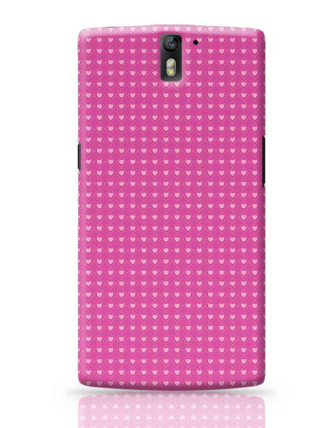 Square stroke hearts on pink  OnePlus One Covers Cases Online India