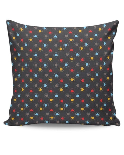 Colorful hearts circle stroke on black Cushion Cover Online India