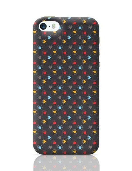 Colorful hearts circle stroke on black iPhone 5/5S Covers Cases Online India