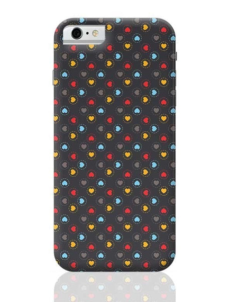 Colorful hearts circle stroke on black iPhone 6 6S Covers Cases Online India