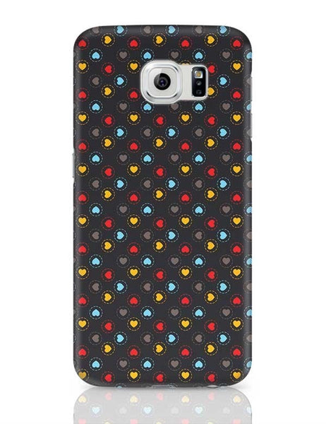 Colorful hearts circle stroke on black Samsung Galaxy S6 Covers Cases Online India