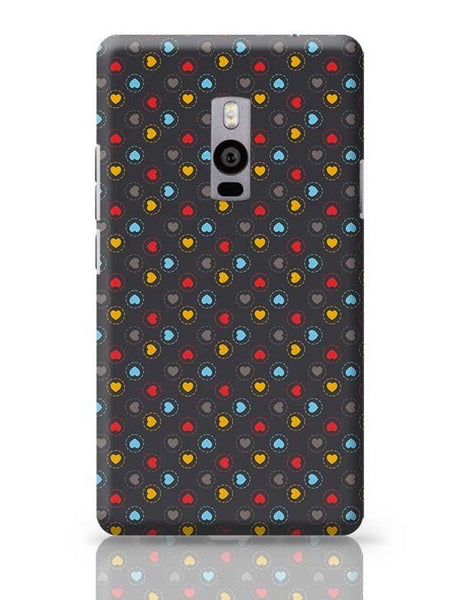 Colorful hearts circle stroke on black OnePlus Two Covers Cases Online India