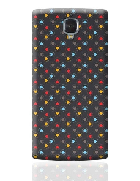 Colorful hearts circle stroke on black OnePlus 3 Covers Cases Online India