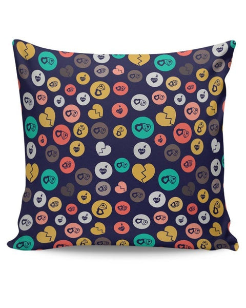 Colorful love hearts on dark blue Cushion Cover Online India