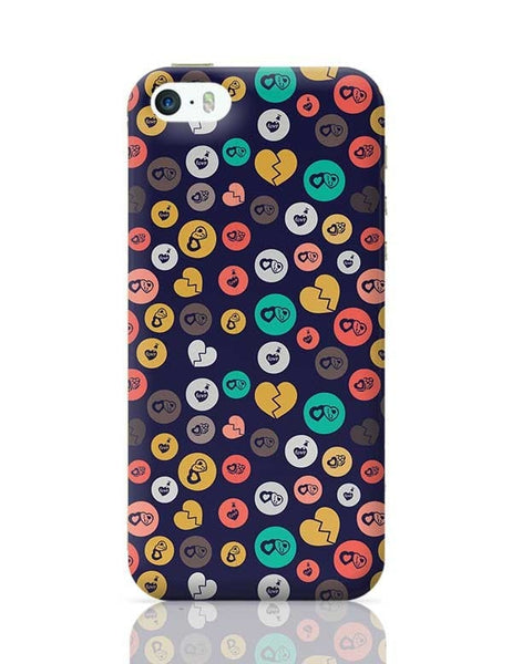 Colorful love hearts on dark blue iPhone 5/5S Covers Cases Online India
