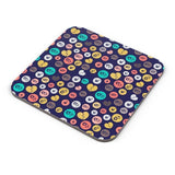 Colorful love hearts on dark blue Coaster Online India