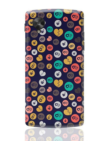 Colorful love hearts on dark blue Google Nexus 5 Covers Cases Online India