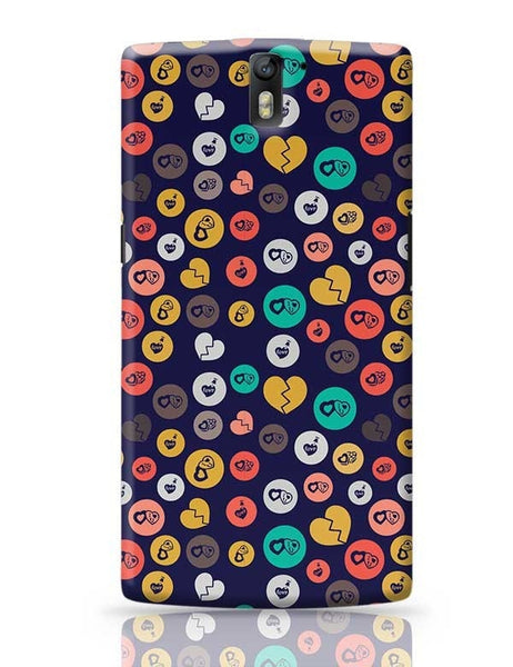 Colorful love hearts on dark blue OnePlus One Covers Cases Online India