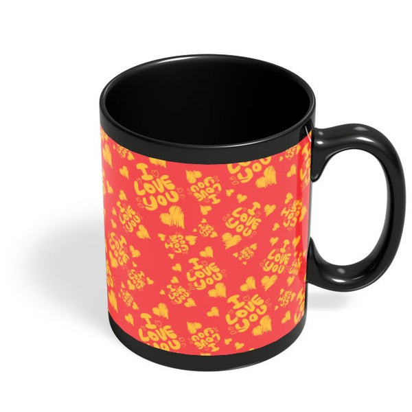 I love you hand draw hearts seamless pattern Black Coffee Mug Online India