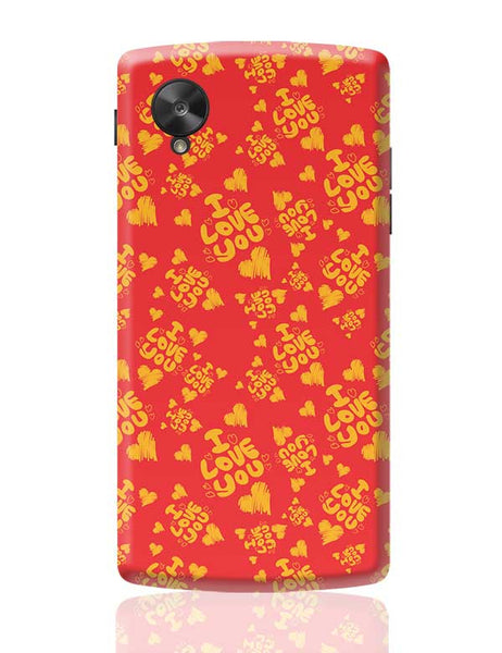 I love you hand draw hearts seamless pattern Google Nexus 5 Covers Cases Online India