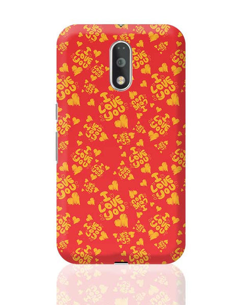 I love you hand draw hearts seamless pattern Moto G4 Plus Online India