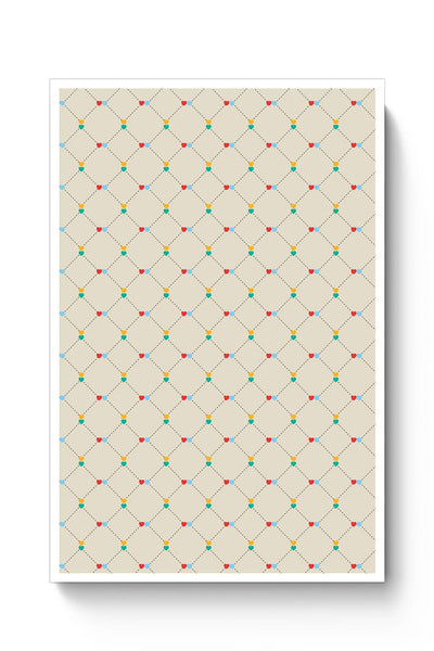 Dotted  square multicolor hearts seamless pattern Poster Online India