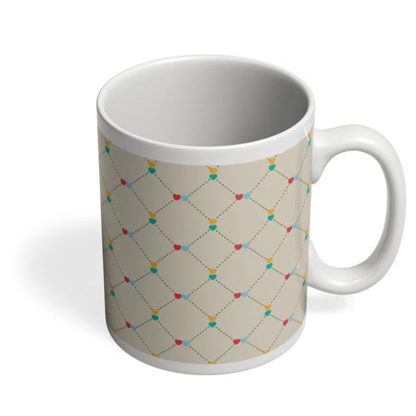 Dotted  square multicolor hearts seamless pattern Coffee Mug Online India