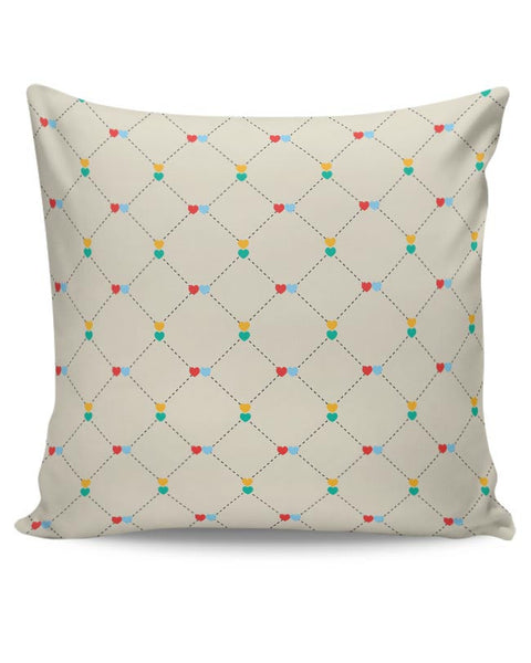Dotted  square multicolor hearts seamless pattern Cushion Cover Online India