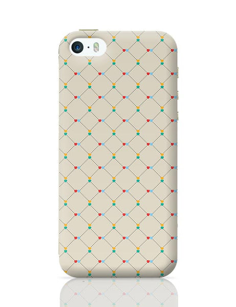 Dotted  square multicolor hearts seamless pattern iPhone 5/5S Covers Cases Online India