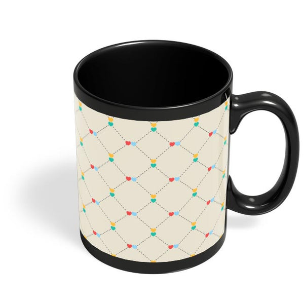 Dotted  square multicolor hearts seamless pattern Black Coffee Mug Online India