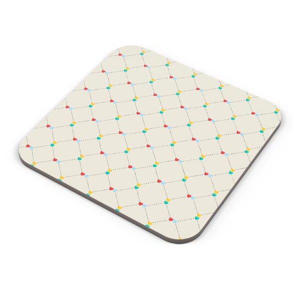 Dotted  square multicolor hearts seamless pattern Coaster Online India