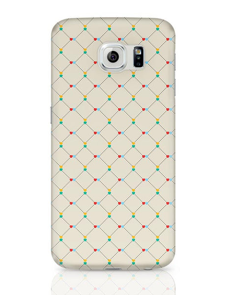 Dotted  square multicolor hearts seamless pattern Samsung Galaxy S6 Covers Cases Online India