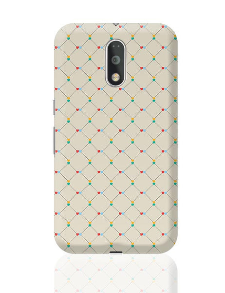 Dotted  square multicolor hearts seamless pattern Moto G4 Plus Online India