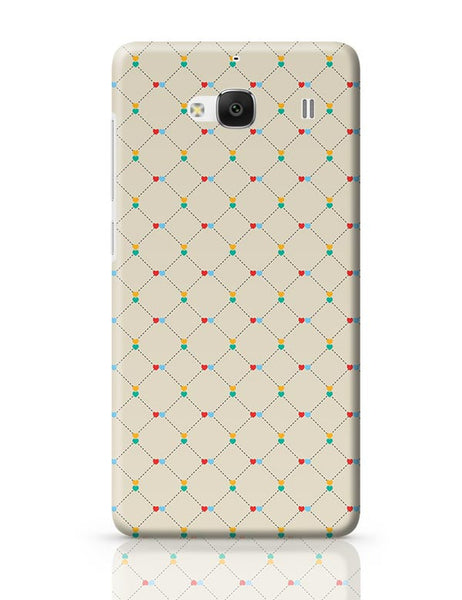 Dotted  square multicolor hearts seamless pattern Redmi 2 / Redmi 2 Prime Covers Cases Online India