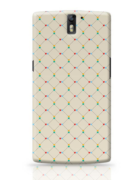 Dotted  square multicolor hearts seamless pattern OnePlus One Covers Cases Online India
