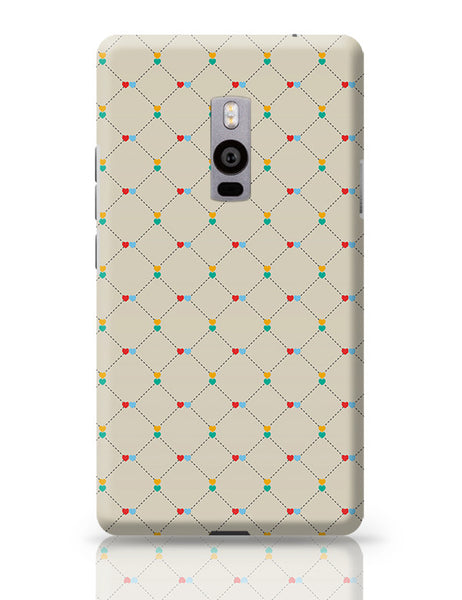 Dotted  square multicolor hearts seamless pattern OnePlus Two Covers Cases Online India