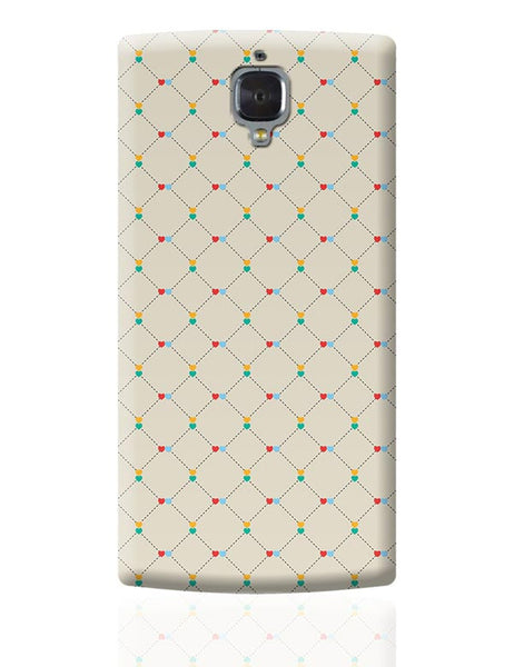 Dotted  square multicolor hearts seamless pattern OnePlus 3 Covers Cases Online India