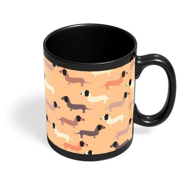 vector dog seamless pattern Black Coffee Mug Online India