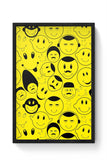 Buy Black And yellow Doodles Glass Framed Poster