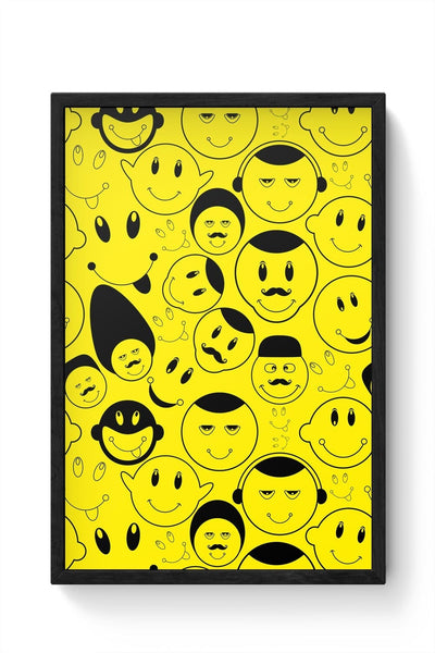 Black And yellow Doodles Framed Poster Online India