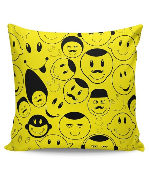 Black And yellow Doodles Cushion Cover Online India