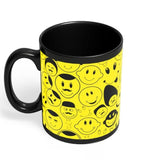 Black And yellow Doodles Black Coffee Mug Online India | Designed by: DesignerChennai