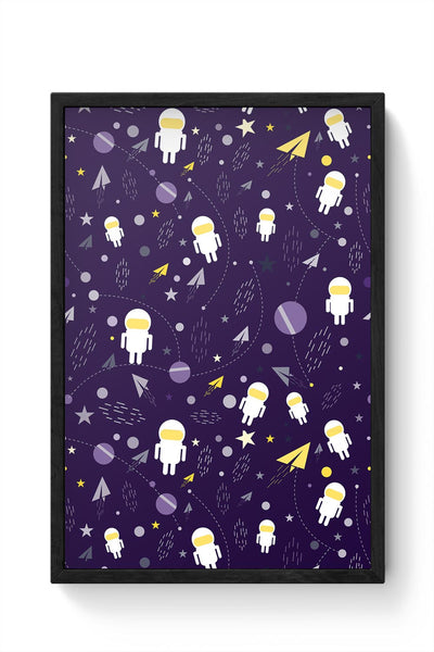 Planets stars and other objects in space on dark blue Framed Poster Online India