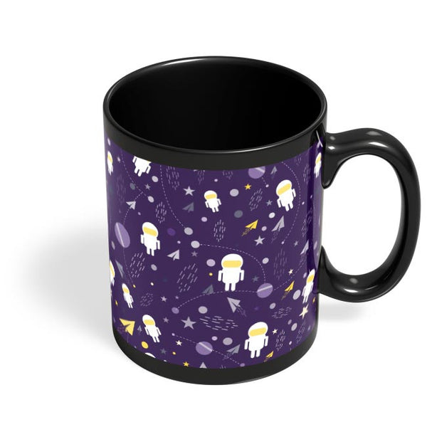 Planets stars and other objects in space on dark blue Black Coffee Mug Online India