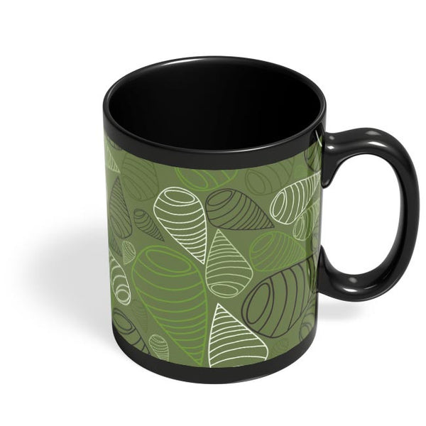 Geometric swirl on green Black Coffee Mug Online India