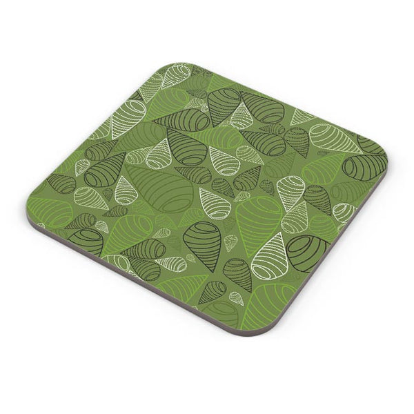 Geometric swirl on green Coaster Online India