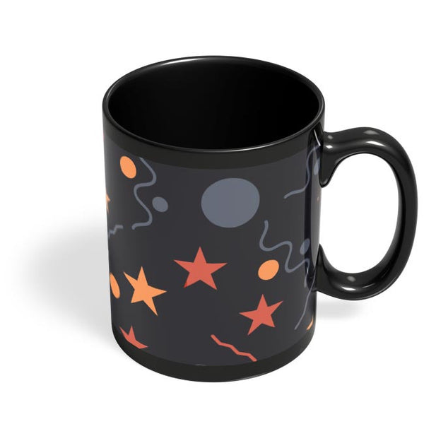 Geometric Multi Shapes Black Coffee Mug Online India